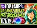 TOP LANE PAJAMA SORAKA INSANE CARRY MOST BROKEN SORAKA BUILD LoL Top Soraka Season 9 Gameplay
