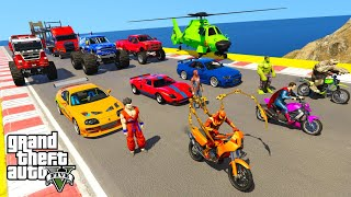 Amazing Racing & Stunts with Super Heroes, Hulk Gone Crazy with Spiderman, Shrek, Harly Queen, Rhin