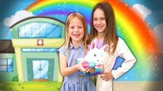 Toy Doctor Lucy Cures Addy's Giggles with Rainglow Unicorn Vet