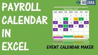 Payroll Calendar using Event Calendar Maker Excel Template