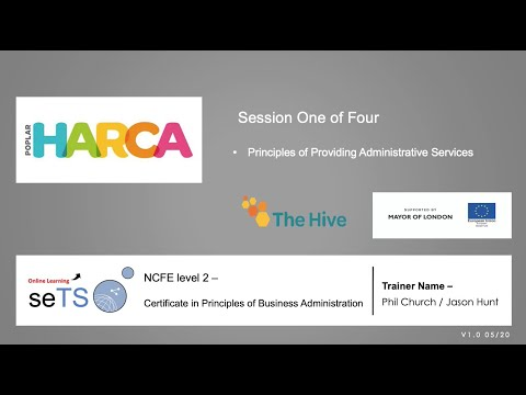 L2 Certificate in Principles of Business Administration: Session 1 of 4: