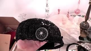 4 Старинные дамские шляпки 20е годы Чёрный гипюр, стеклярус, бисер, горный хрусталь.