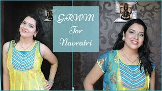 Image for video on GRWM for Navratri | Festive Makeup Look | Pop of TEAL | Collab with Fashion Ivy | beautywithsneha by beautywithsneha