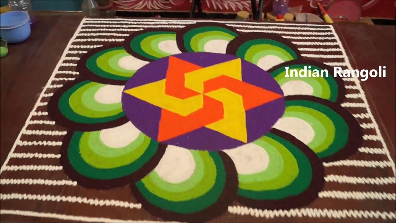 rangoli competition 3d flower design