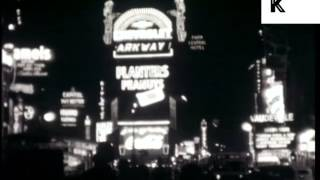1939 New York, Times Square at Night, Manhattan, Neons, Archive Footage