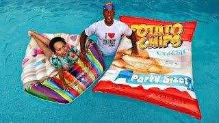 Giant Potato Chips VS Giant Cupcake Swimming Pool Challenge - Video Youtube