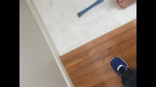 Do not Pay to replace worn carpet with hardwood - do it yourself in a couple of hours