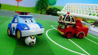 Мультики для мальчиков. Робокар Поли строит футбольное поле.
