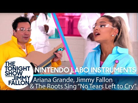 """Ariana Grande, Jimmy & The Roots Sing """"No Tears Left to Cry"""" w/ Nintendo Labo Instruments"""