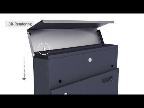 Edelstahl Briefkasten Wandbriefkasten Anthrazit mit Stoßdämpfer