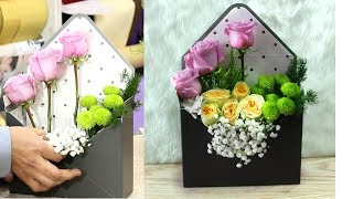 How To Make Bouquet Same Like Envelope || Easy Flower Arrangement In A Short Time