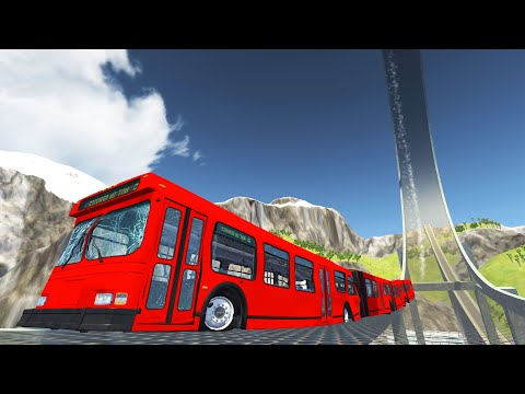 BeamNG DRIVE - Articulated Bus Crashes #11