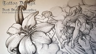 Full Back Tattoo Design - Angels & Lilies From Dark Design Graphics