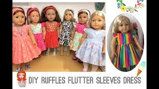 "Ruffle Flutter Sleeve Dress  Tutorials For 18""  And 14"" Dolls Free Patterns"