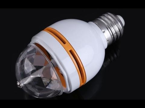 RGB LED Вращающаяся Crystal LED Лампа (обзор,распаковка и демонстрация товара)