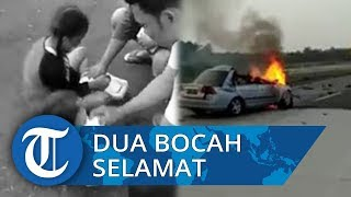 Video Detik-detik Kecelakaan Maut di Tol Lampung, Dua Bocah Selamat Berlumuran Darah di Bahu Tol