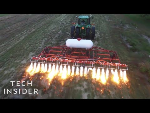 Killing Weeds with Flame Throwing Tractors