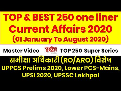Top and Best 250 One liner Current Affairs Questions for RO/ARO, UPPCS, Lower PCS, UPSI 2020