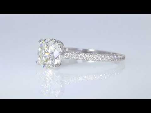 Diamonds Engagement Halo Ring in 14K White Gold