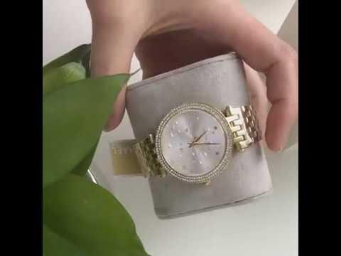3ec9f7c73d4f MICHAEL KORS Mini Darci Gold Tone Stainless Steel Ladies Watch ...