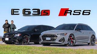[Throttle House] 2021 Audi RS6 vs Mercedes-AMG E63S // DRAG RACE, ROLL RACE & Track Review