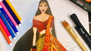 Beautiful Wedding Dress//how To Draw A Beautiful Red And Black Wedding Dress