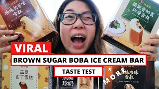 VIRAL BROWN SUGAR BOBA ICE CREAM BAR + MORE TASTE TEST (PART 1)