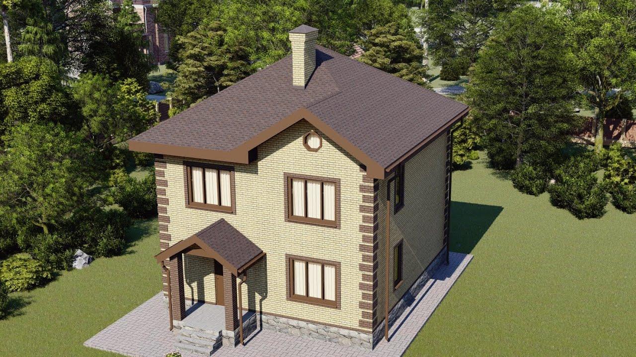 Проект компактного двухэтажного дома с четырьмя спальнями