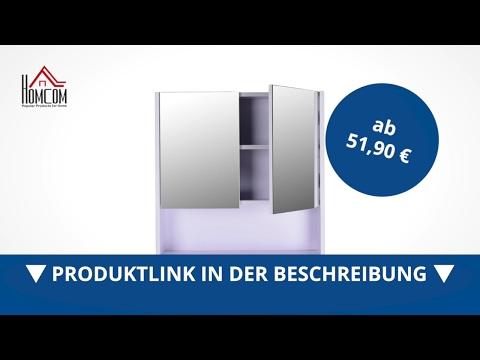 Homcom Badezimmerschrank 60 x 60 x 15 cm Spiegelschrank Badschrank  - direkt kaufen!