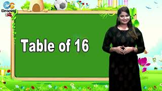 Table of 16   Learn Multiplication Table of Fifteen 16 x 1 = 16   Elearning Studio