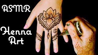 No Talking ASMR Intricate Henna Hand Tatoo Design! Light Crinkling