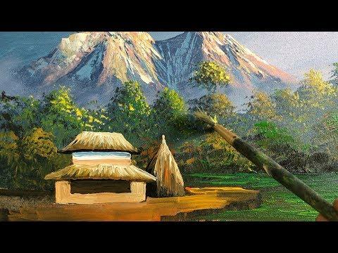 Nepali Village Landscape Painting | Beautiful Painting | Nature Painting | Scenery Painting | Art
