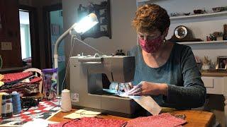 Volunteers making masks for medical workers