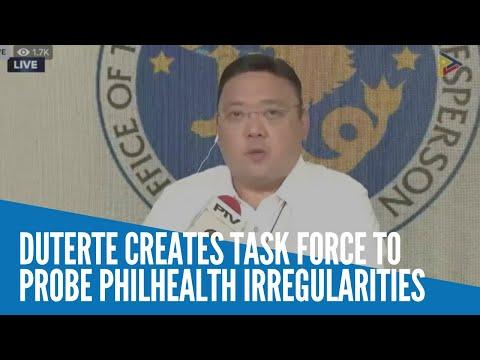 [Inquirer]  Duterte creates task force to probe PhilHealth irregularities