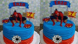 bolo homem aranha com topper fácil decorar
