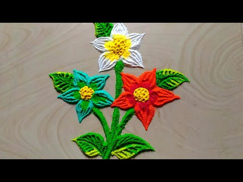 Easy & Unique Flowers Rangoli Designs By Jyoti