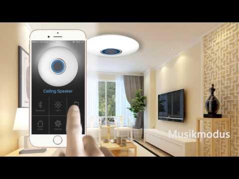 stylehome24.de - LED Musik Deckenleuchte mit Bluetooth Lautsprecher