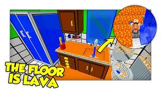 Minecraft The Floor Is Lava - IL BAGNO SOMMERSO DALLA LAVA! w/ Two Players One Console