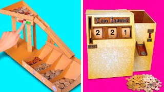 Sort And Count COINS like a PRO    How To Make DIY Cardboard Coin Counter And Sorting Machine💰