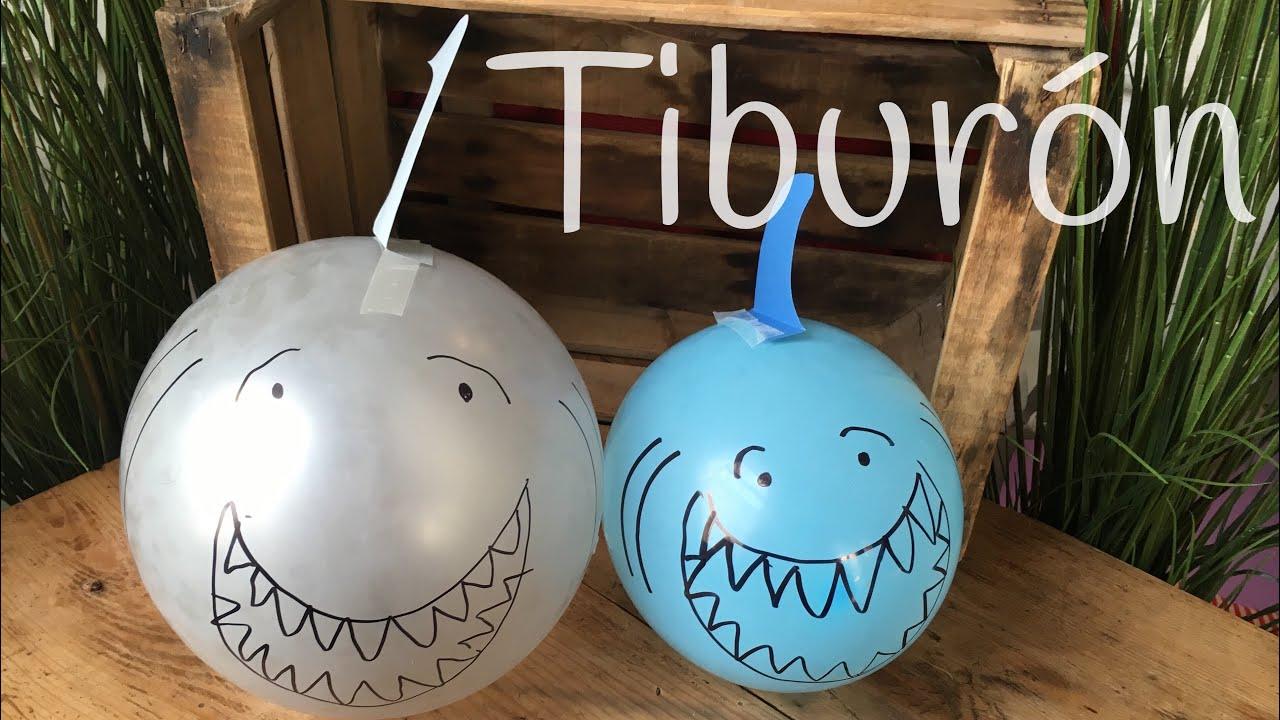 DECORACIÓN para fiestas con GLOBOS en forma de tiburón | IDEAS para fiestas infantiles