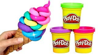 Play Doh Ice Cream How to Make Rainbow Ice Cream Cone with Play Doh Creative Fun for Kids
