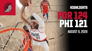 Trail Blazers 124, 76ers 121 | Game Highlights | August 9, 2020