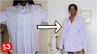DIY Fitted Waist Shirt Dress | Mens Shirt Refashion