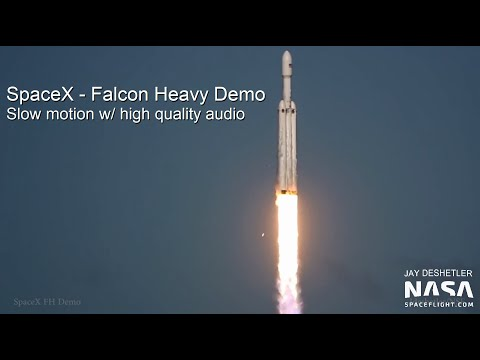 SpaceX - Falcon Heavy Demo - slow motion w/ high quality audio