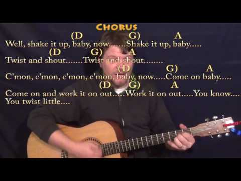 Twist and Shout (The Beatles) Strum Guitar Lesson Chord Chart with Chords/Lyrics - D G A