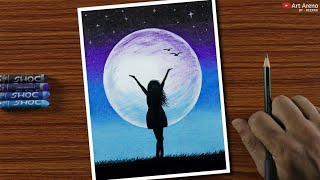 Easy Oil Pastel Drawing for Beginners - A Girl in Moonlight - Step by Step