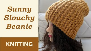 How to Knit: Sunny Slouchy Beanie on Straight Needles (9mm) in Garter Stitch. Folded / No Brim.