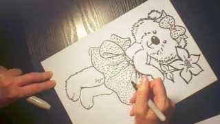 Смотреть онлайн Как поэтапно нарисовать красивого медвежонка