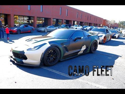 WhipAddict: Atlanta Custom Wraps Toy Drive Ride Out, Camo Wrapped Z06, GT-R And Huracan