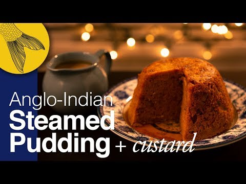 Steamed Carrot-Ginger Pudding with Tea-Custard (Crème Anglaise)-Anglo-Indian Recipe for Christmas